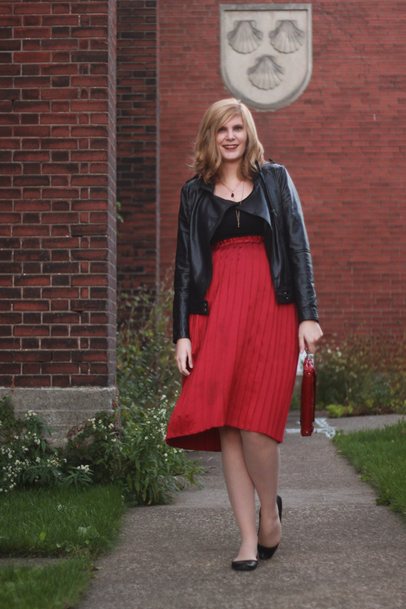 Leather jacket + burgundy pleated skirt // We So Thrifty