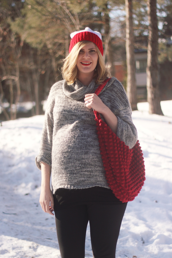 Slouchy gray sweater + toque // We So Thrifty